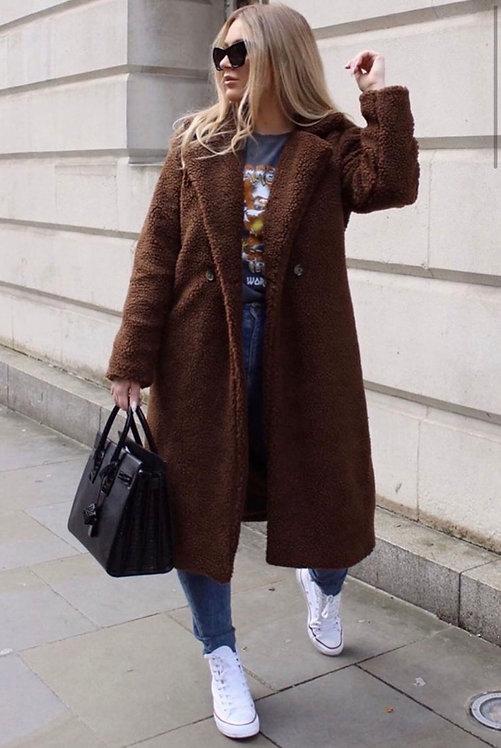 Longline Faux Teddy Fur Coat
