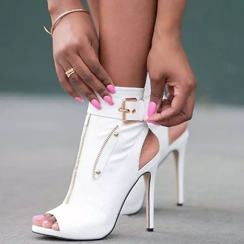 Buckle Strap Peep Toe Ankle Boots