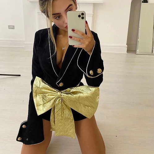 Bow Belted Lapel Playsuit