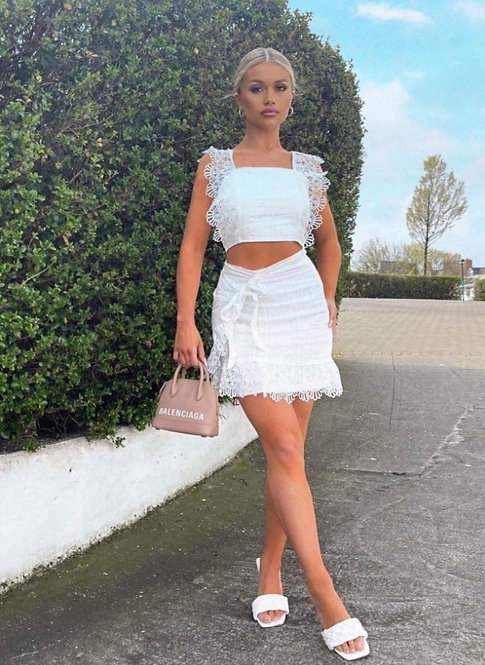 White Lace Ruffle Trim Crop Top & Wrapover Skirt