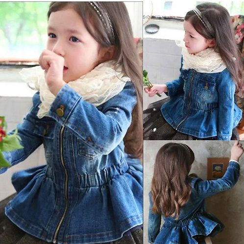 Girls Peplum Denim Jacket