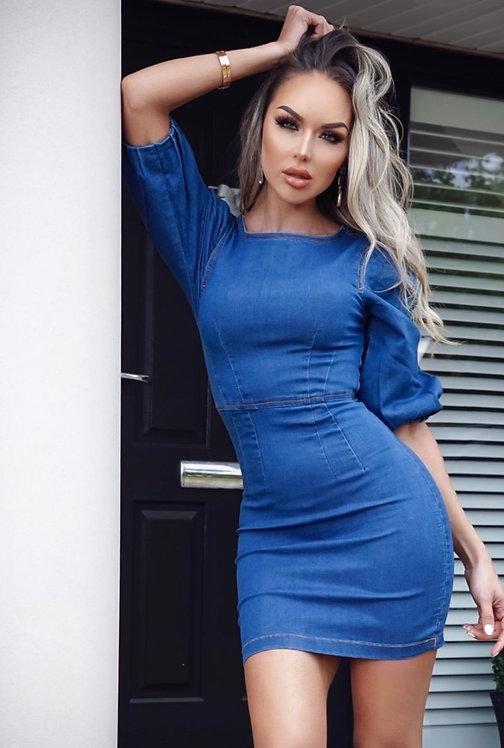 Puffed Sleeve Denim Bodycon Dress