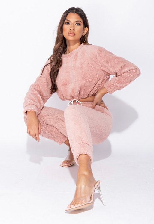 Teddy Borg Cropped Top & Jogger Lounge Set