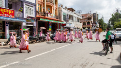 Buddhist Nuns crossing the road