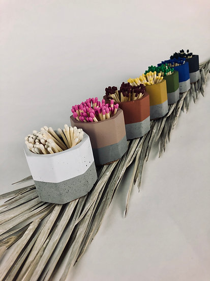 Painted Match Stick Holder with Strike Pad