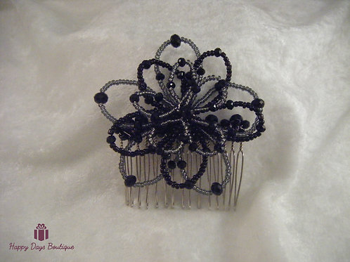 Hair Comb - Daisy Black
