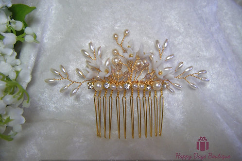 Hair Comb - Lillies & Pearls