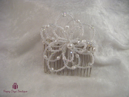 Hair Comb - Daisy White