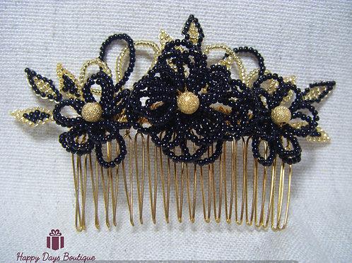 Hair Comb - Black & Gold Fleur