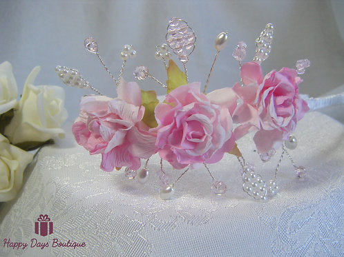 Side Headband Pastel Roses