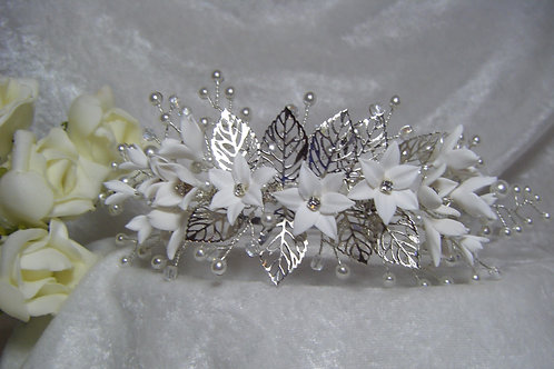 Side Headband Flowers & Pearls
