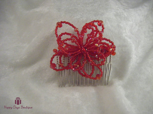 Hair Comb - Daisy Red