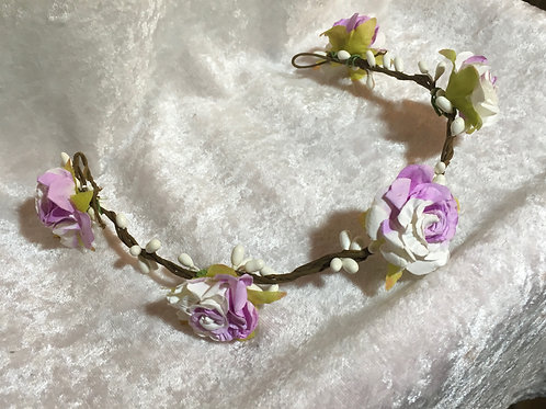 Floral Headband - lilac &  ivory roses