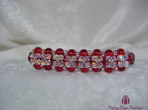 Hair Slide Barette Garnet Red