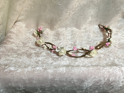 Floral Headband - white rose, pink buds