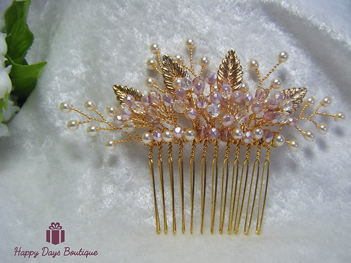Hair Comb - Pale Pink & Gold