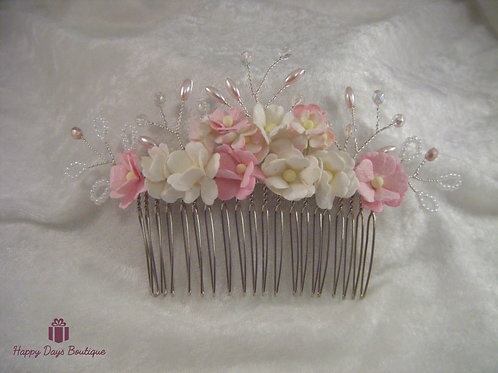 Hair Comb - Pastel Blossoms