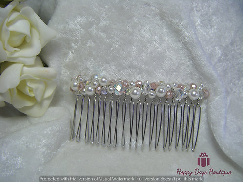 Hair Comb - Pale Pink & White