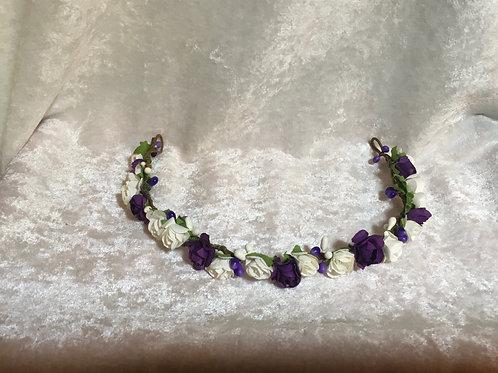 Floral Headband - purple & white roses