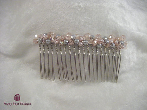 Hair Comb - Pale Pink & Grey