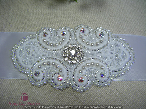 Hand Beaded Sash - Isabelle