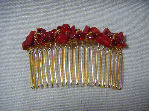 Hair Comb - Red Coral