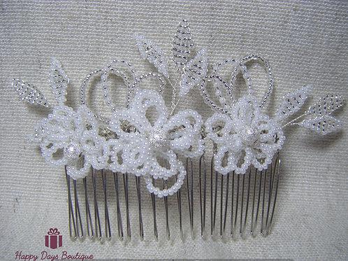 Hair Comb - Pearl & Silver Fleur