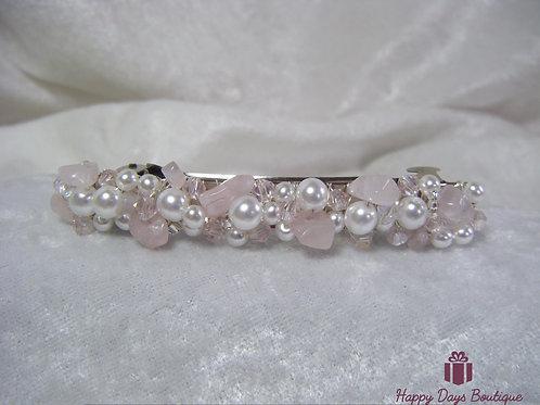Hair Slide Barette Rose Quartz & Pearls