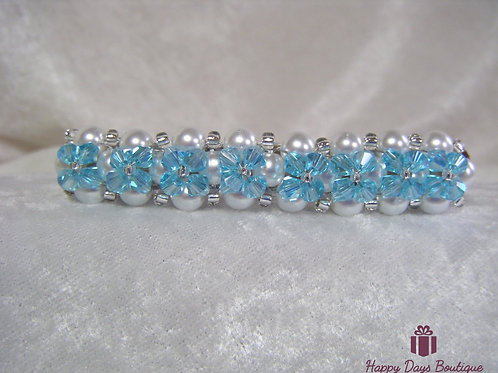 Hair Slide Barette Pearls & Turquoise