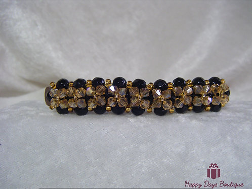 Hair Slide Barette Black & Gold