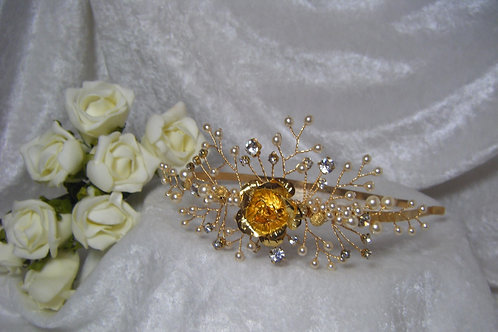 Side Headband Gold Rose