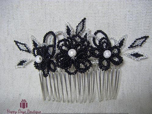 Hair Comb - Black & Silver Fleur