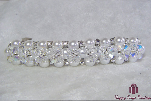 Hair Slide Barette Pearls & Crystals
