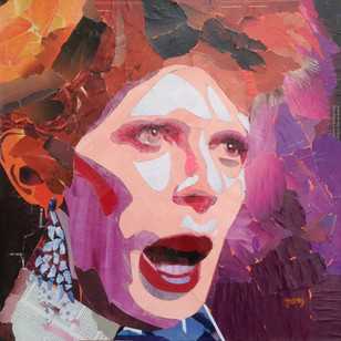 """""""Missing Bowie"""", 24""""x24"""", paper collage"""