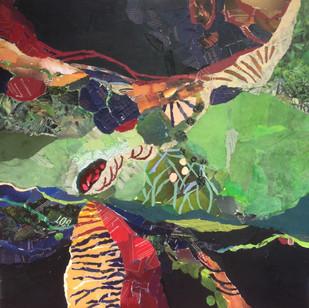 """""""Habitat"""", 36""""x36"""", paper collage"""