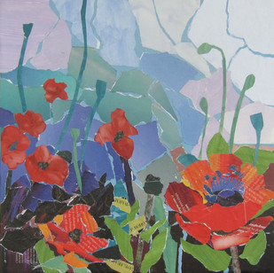 """""""Poppies for You #1"""", 12""""x12"""", paper collage"""