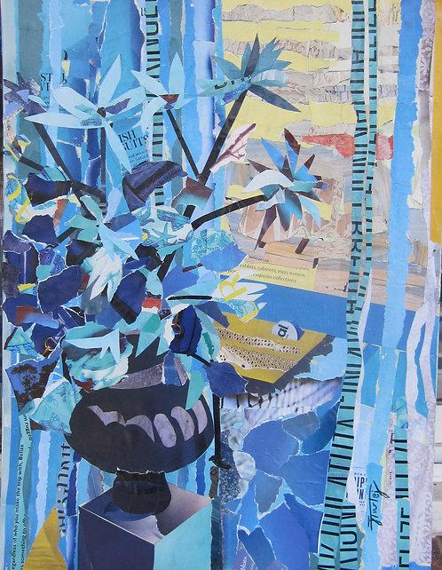 Blue Vase #1 paper collage