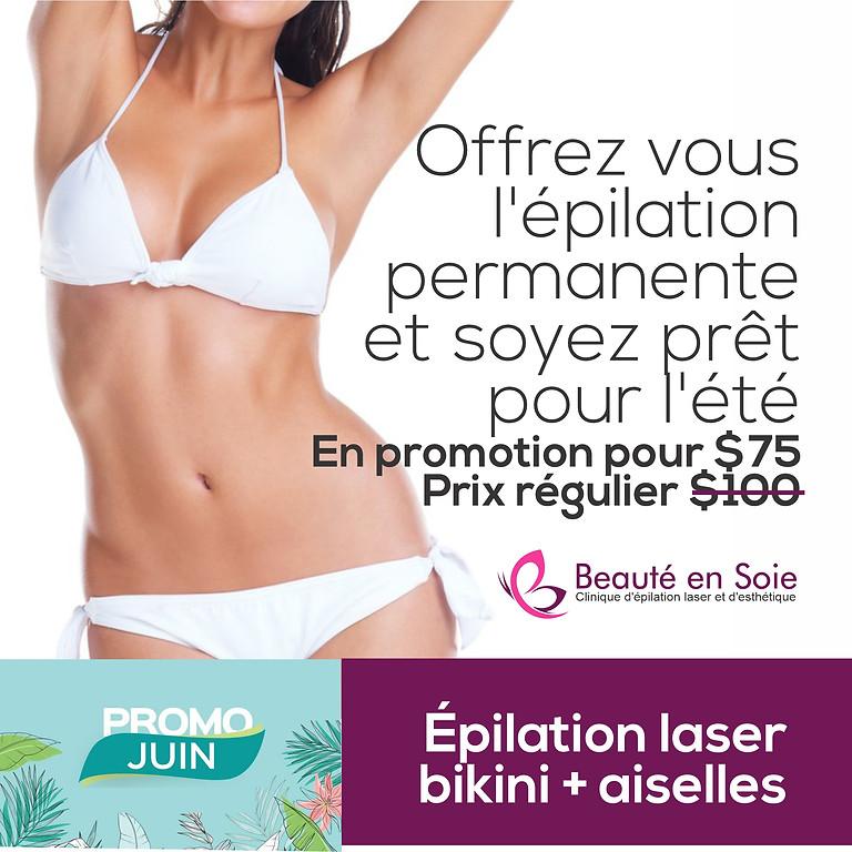 Épilation laser bikini + aiselles pour femmes