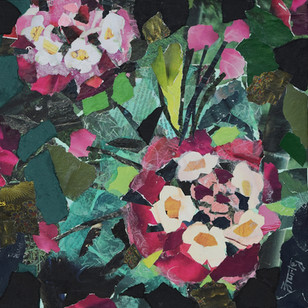 """""""Pink Southern Flowers"""", 12""""x12"""", paper collage"""