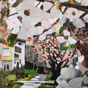 """""""Blossoms"""", 40""""x30"""", paper collage"""