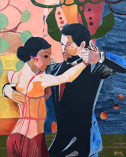 Dance me to the End of Love paper collage