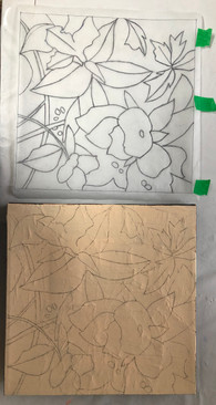 Tracing the design onto the canvas