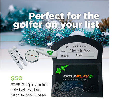$50 Gift Card - FREE Golfplay poker chip ball marker, pitch fix tool & tees