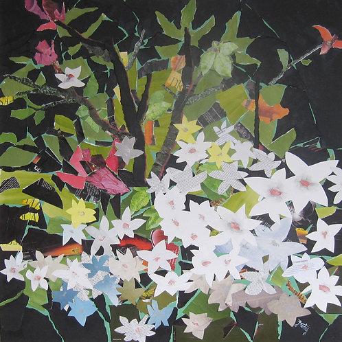 Magnolias paper collage