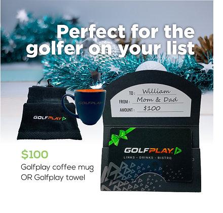 $100 Gift Card - FREE Golfplay coffee mug OR Golfplay towel