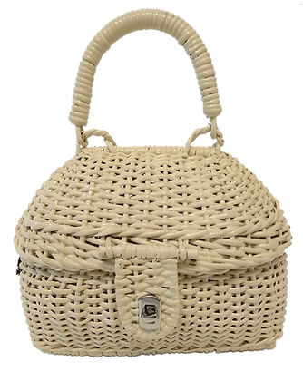Alex Cerello Rattan Top Handle Bag Handmade - CLASSICA