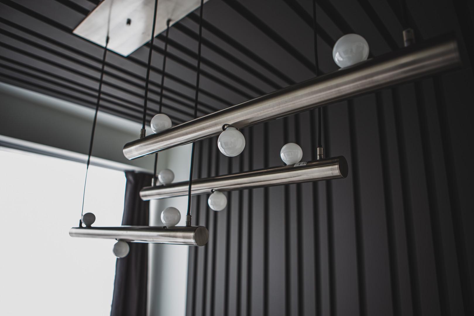 Bespoke Ceiling Panelling & Chrome Lighting