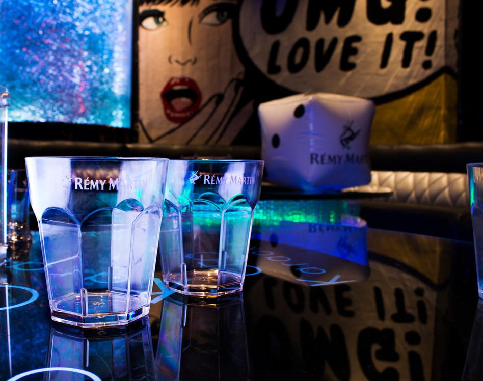Custom made RÉMY MARTIN glassware and novely dice