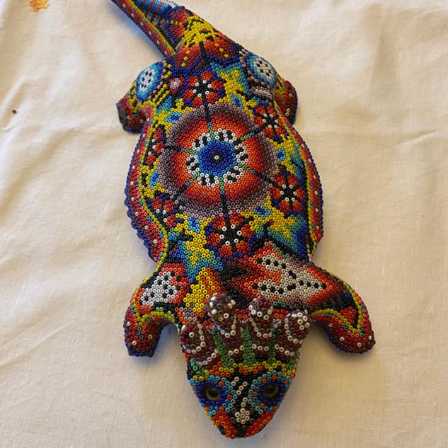 Huichol beaded reptile