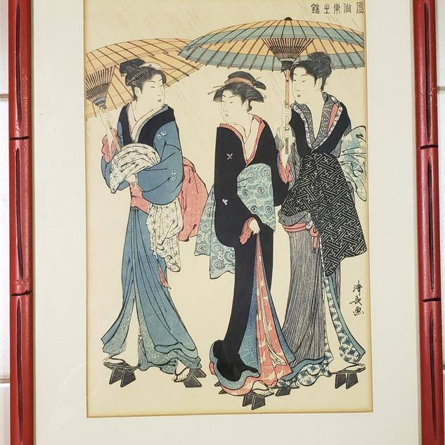 Ukiyoe umbrella geishas